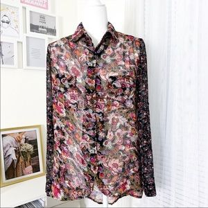 Band Of Gypsies Sheer Floral Print Button Down Top